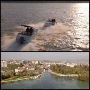 Poursuite de bateaux avec drone sur lac Annecy