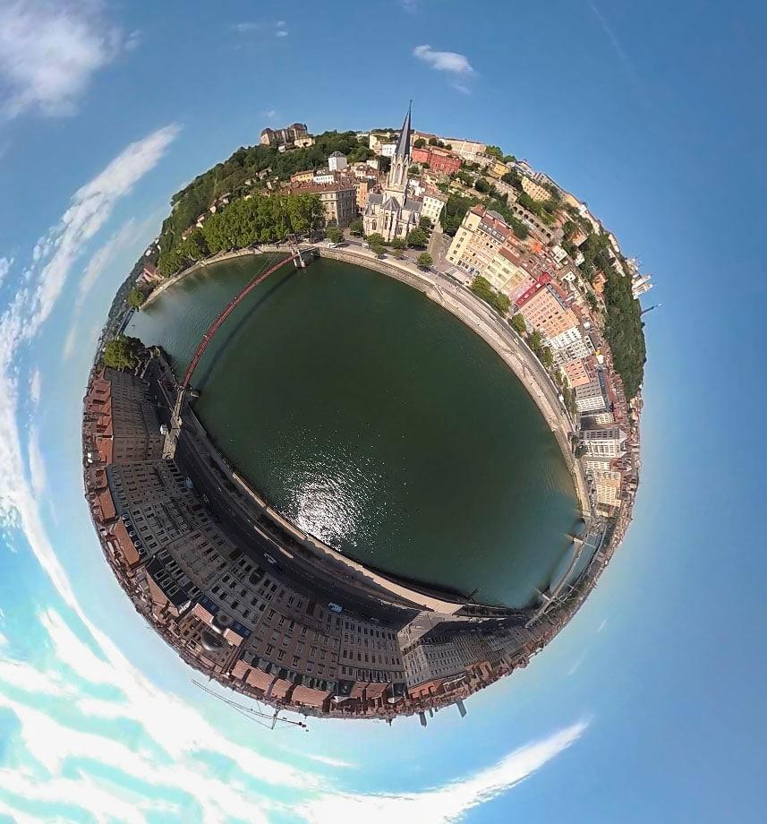 Photos 360 de la ville de lyon en drone