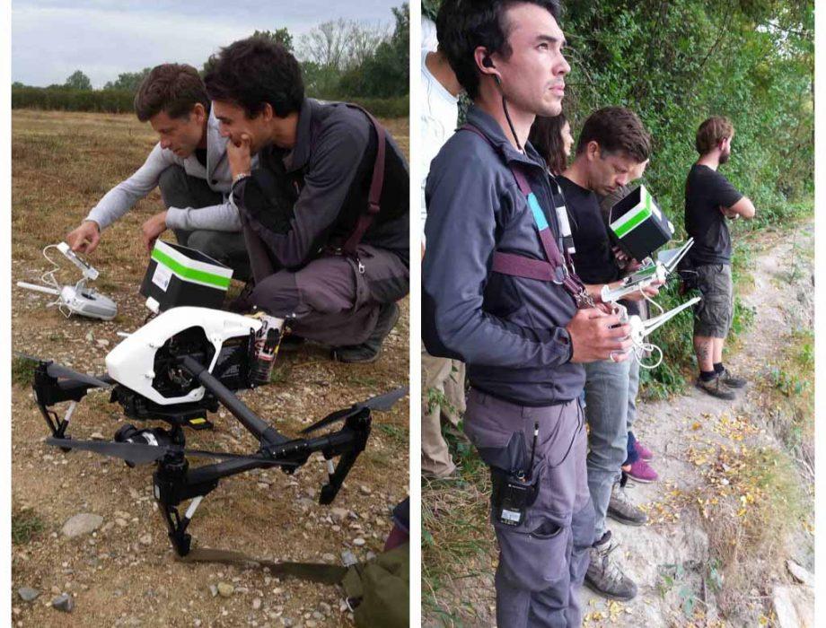 Pilotes de drones en tournage