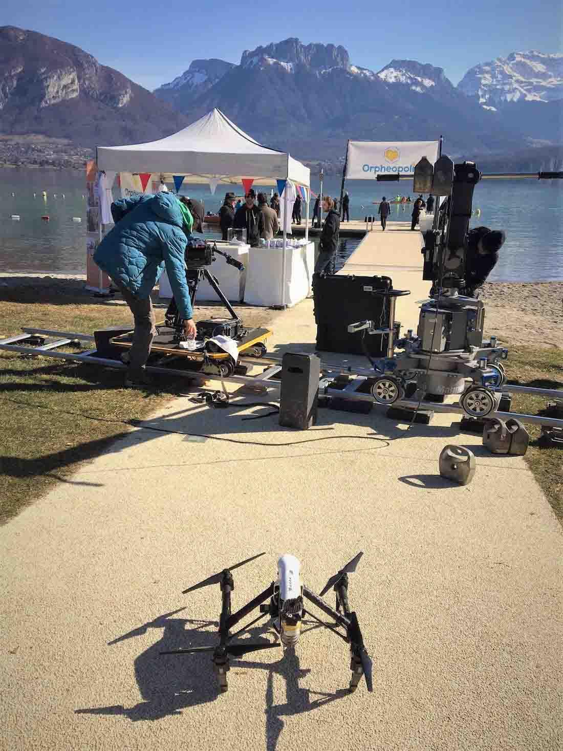 Vidéo aérienne par drone sur le lac d'annecy pour une fiction