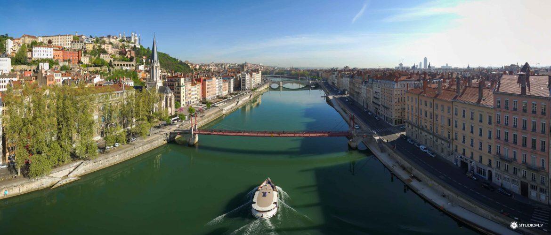 Panorama de la ville de Lyon en Drone