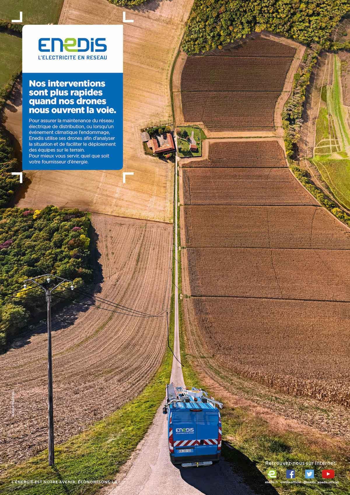 Campagne publicitaire pour Enedis avec photos aérienne par drone