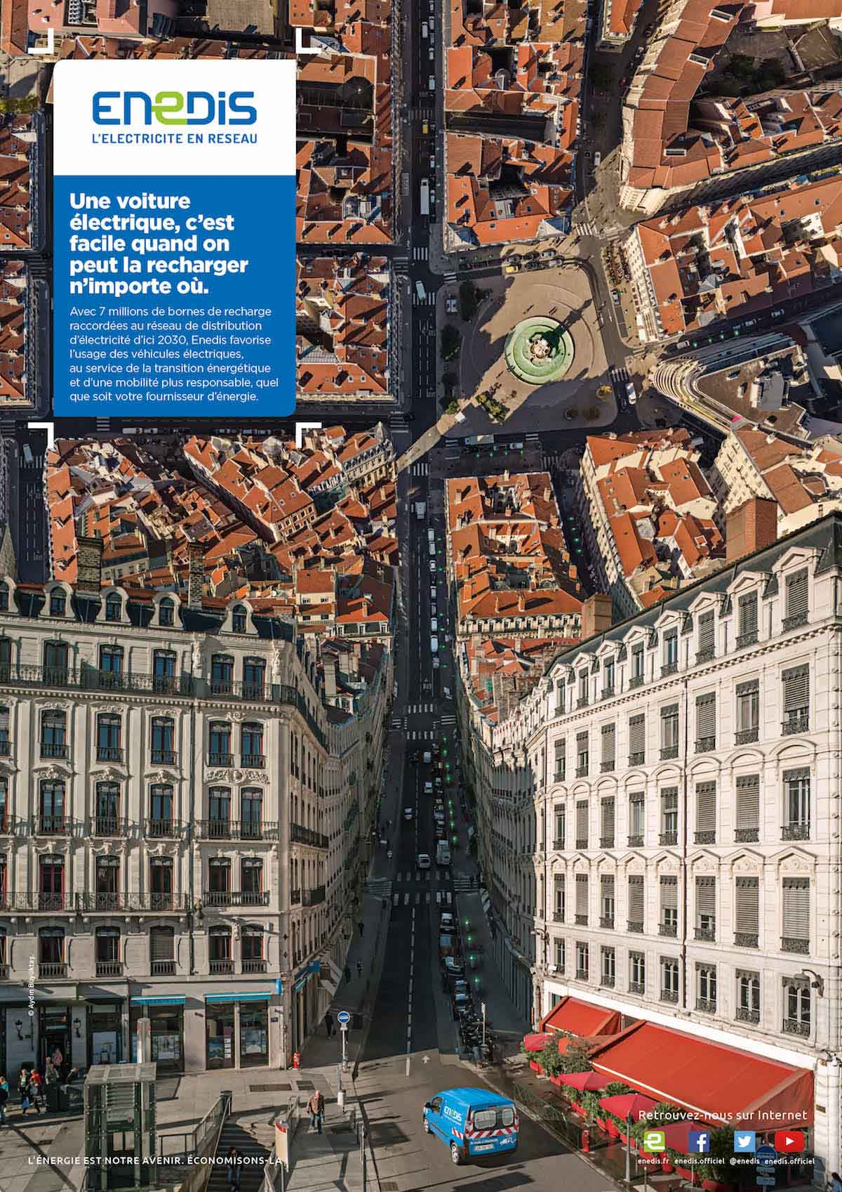 Campagne publicitaire Enedis avec images aériennes par drone