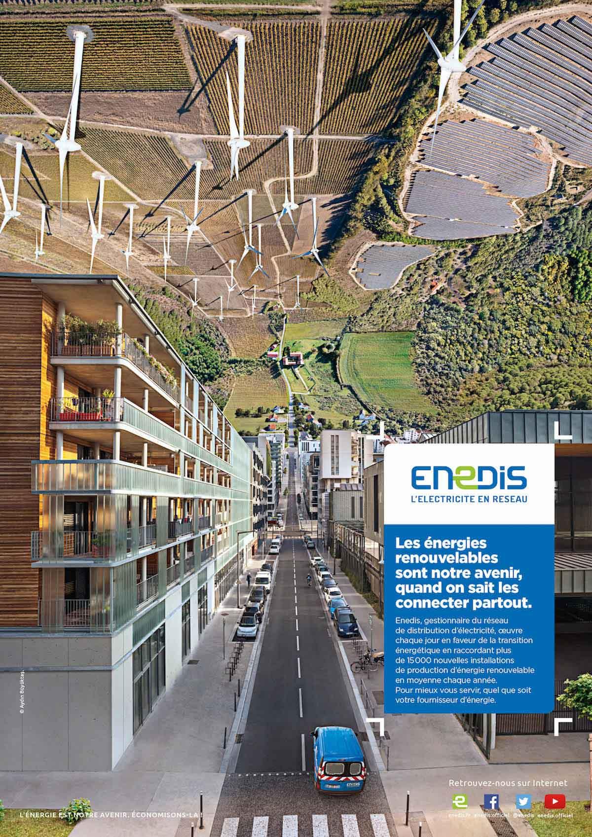 Campagne publicitaire Enedis avec photos aérienne par drone