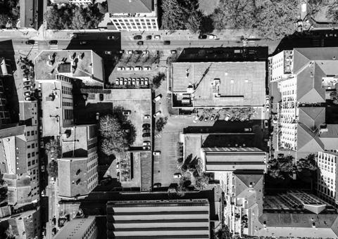 Vue de la ville par drone