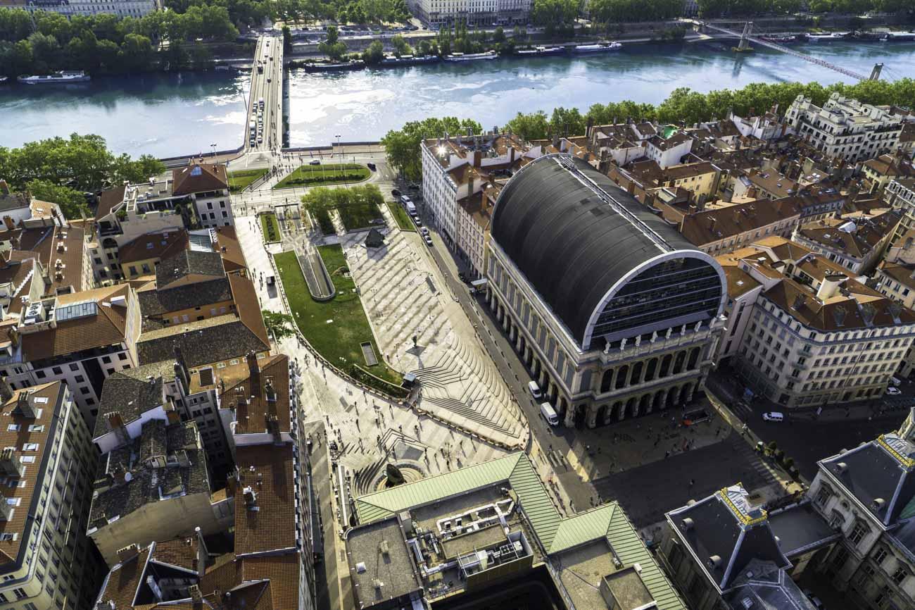 Ville de lyon vue par drone
